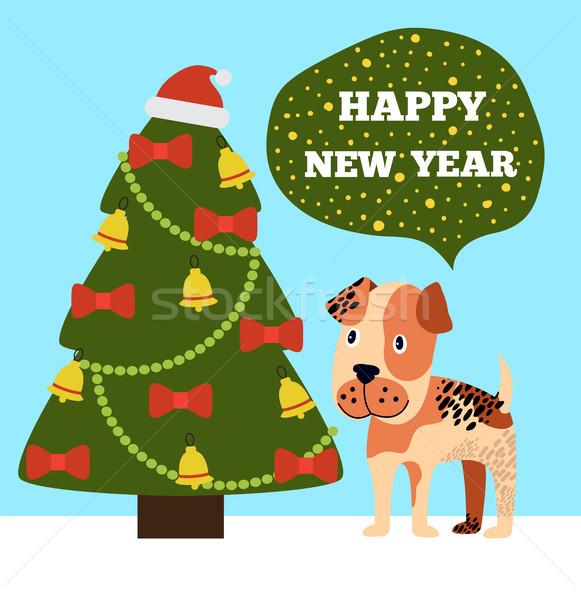 Happy New Year Greeting Card Cartoon Grey Spot Dog Stock photo © robuart