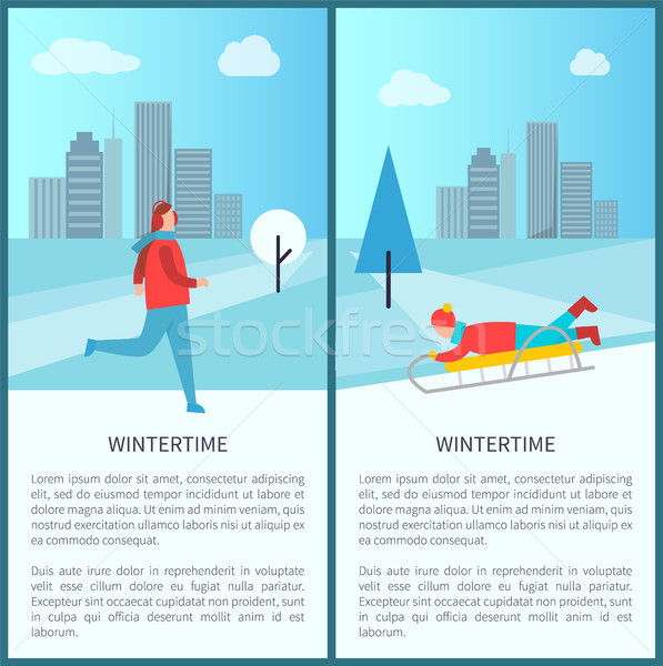 Wintertime Activities Banner Vector Illustration Stock photo © robuart