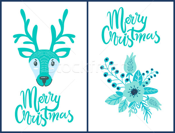Merry Christmas Deer, Flower Vector Illustration Stock photo © robuart