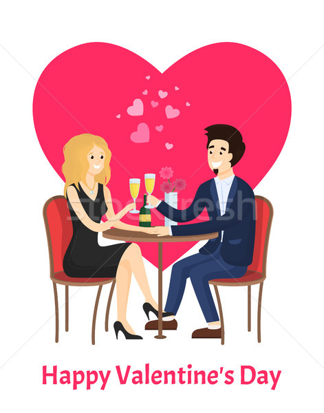 Happy Valentines Day Poster Dating Couple at Table Stock photo © robuart