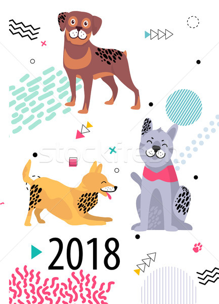 Calendar for 2018 Cover with Cartoon Pedigree Dogs Stock photo © robuart