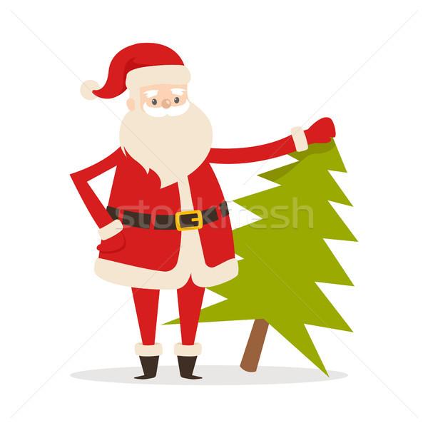 Santa Claus with Fresh Fir Tree. Father Christmas Stock photo © robuart