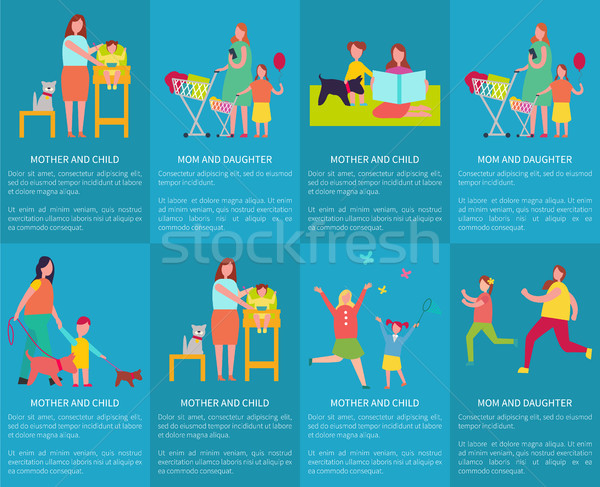 Mom and Daughter, Mother with Child Vector Posters Stock photo © robuart