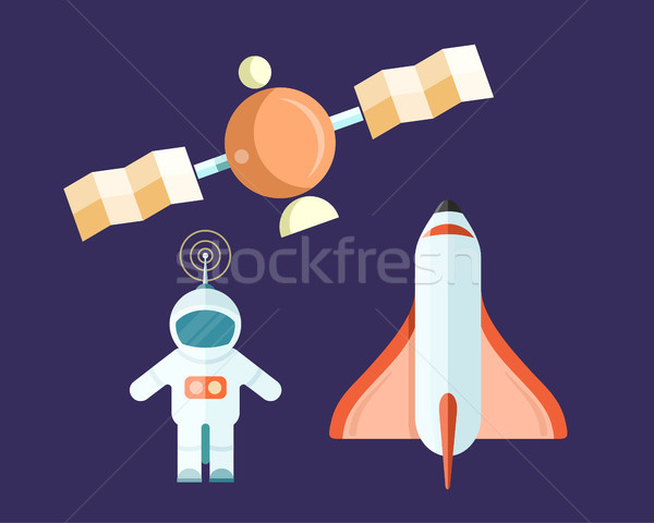 Spaceman and Flying Satellite with Rocket Poster Stock photo © robuart
