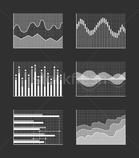 Charts with Business Information, Colorless Set Stock photo © robuart