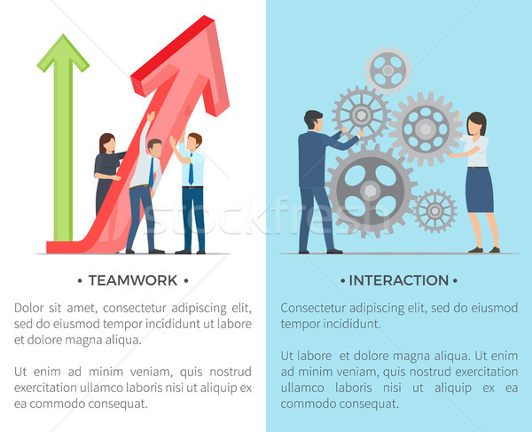 Teamwork and Interaction Collection of Posters Stock photo © robuart