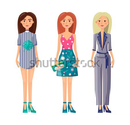Stylish Girls Set Summer Vogue Collection Clothing Stock photo © robuart