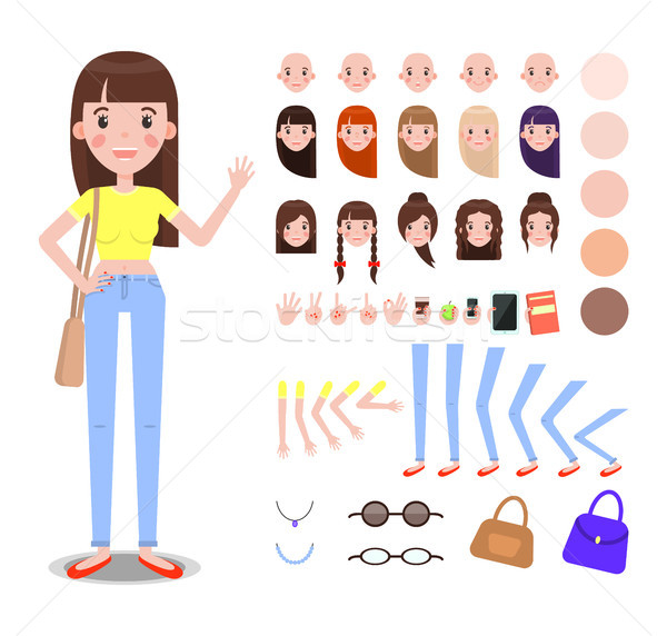 Girl Constructor with Body Parts and Accessories Stock photo © robuart