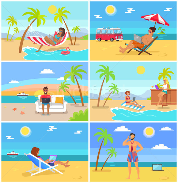 Freelancers in Hot Tropical Countries in Summer Stock photo © robuart