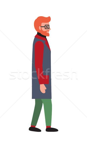 Férfi piros szakáll meleg tél ruha Stock fotó © robuart