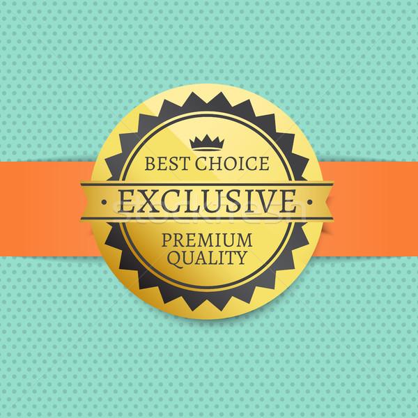 Exclusivo prêmio qualidade dourado etiqueta Foto stock © robuart