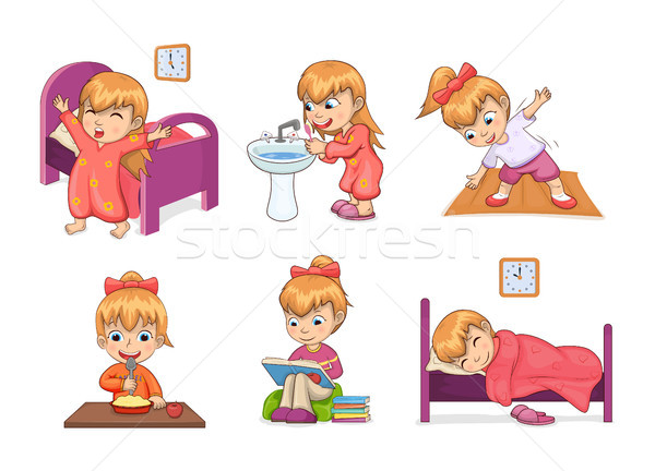 Girl Daily Routine Collection Vector Illustration Stock photo © robuart