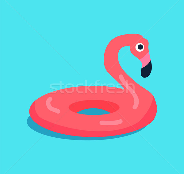 Rubber Flamingo Ring Isolated on Blue Background Stock photo © robuart
