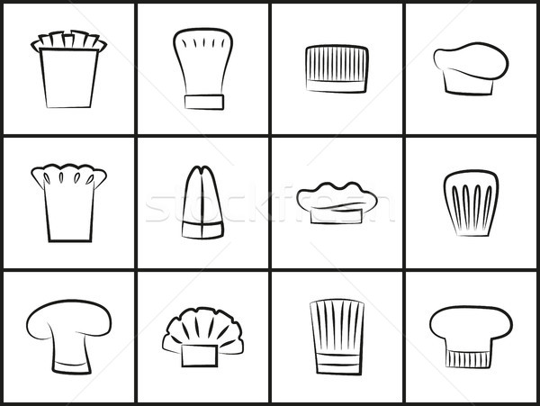 Küchenchef Hüte alle Formen dünne Gliederung Stock foto © robuart