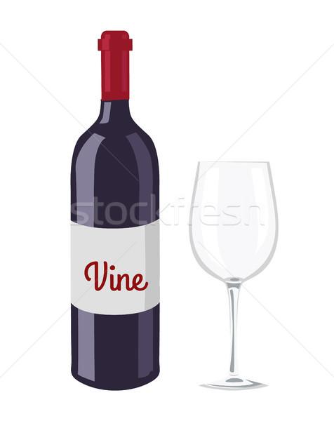 Bottiglia di vino vetro oggetto etichetta titolo vuota Foto d'archivio © robuart