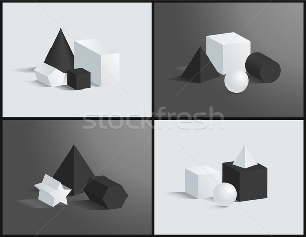 Set of Four Vector Banner with Different Prisms Stock photo © robuart
