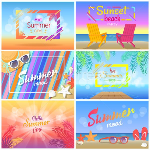 Hot zonsondergang strand partij zomertijd Stockfoto © robuart