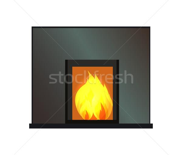 Siyah dikdörtgen biçiminde şömine renk vektör şablon Stok fotoğraf © robuart