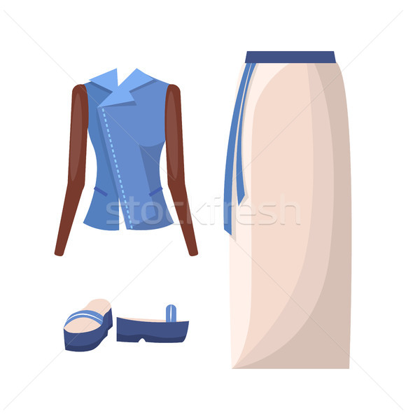 Denim jas lang rok gordel hoog Stockfoto © robuart