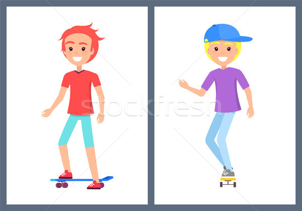 Skaters Teenage Collection Vector Illustration Stock photo © robuart