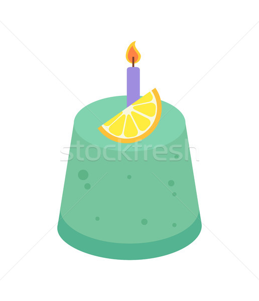 Birthday Cake with Candle Vector Illustration Stock photo © robuart