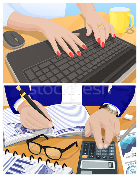 Female Hands Type on Keyboard and Male Ones Write Stock photo © robuart