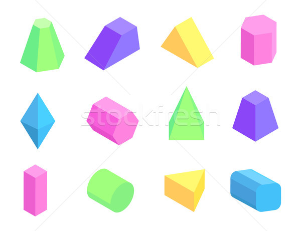 Different Shape Prism Collection on White Backdrop Stock photo © robuart