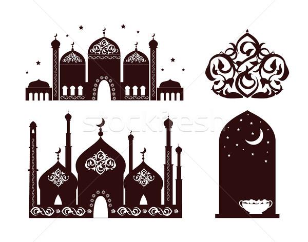 Ramadan coleção estrelas acima simbólico Foto stock © robuart