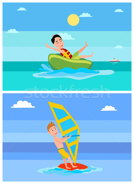 Windsurfing Collection Summer Vector Illustration Stock photo © robuart