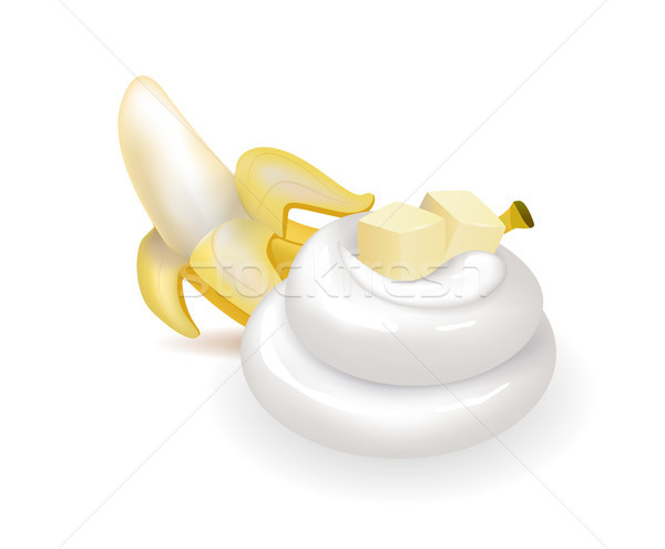 Peeled Sweet Banana and Swirl of Whipped Cream Stock photo © robuart