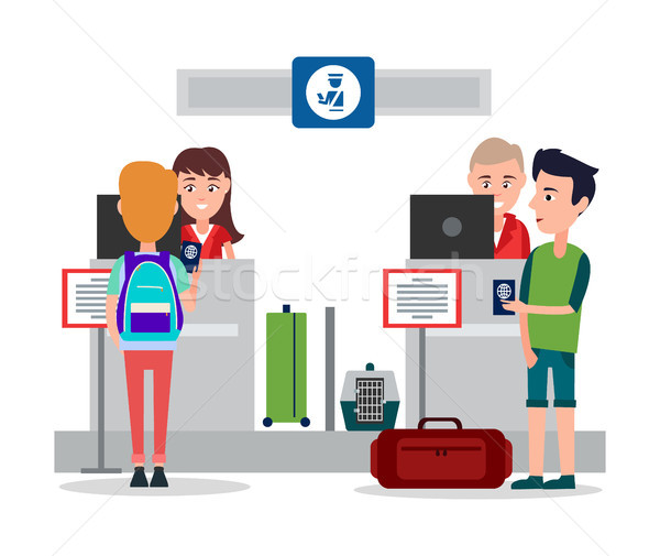 Passport Control in Airport Vector Illustration Stock photo © robuart