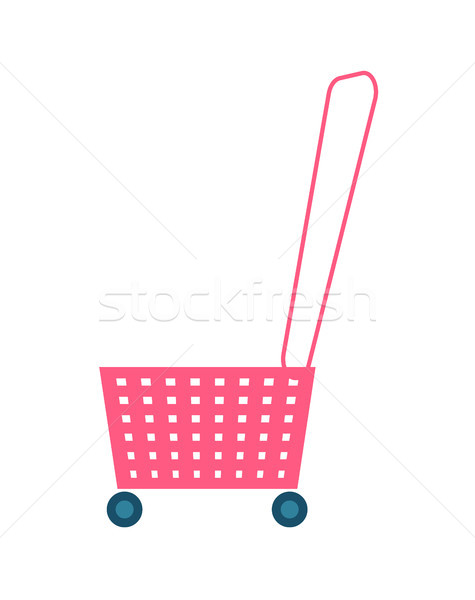 Carrinho de compras manusear rodas rosa plástico carrinho Foto stock © robuart