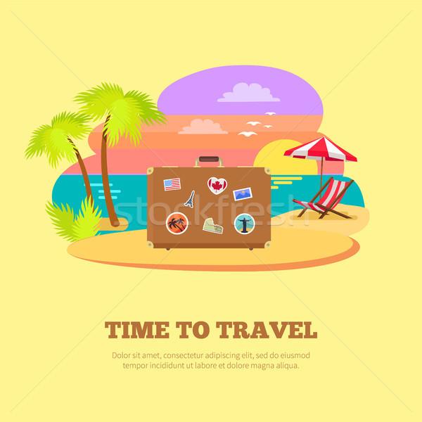 Idő utazás promóciós poszter bőrönd matricák Stock fotó © robuart