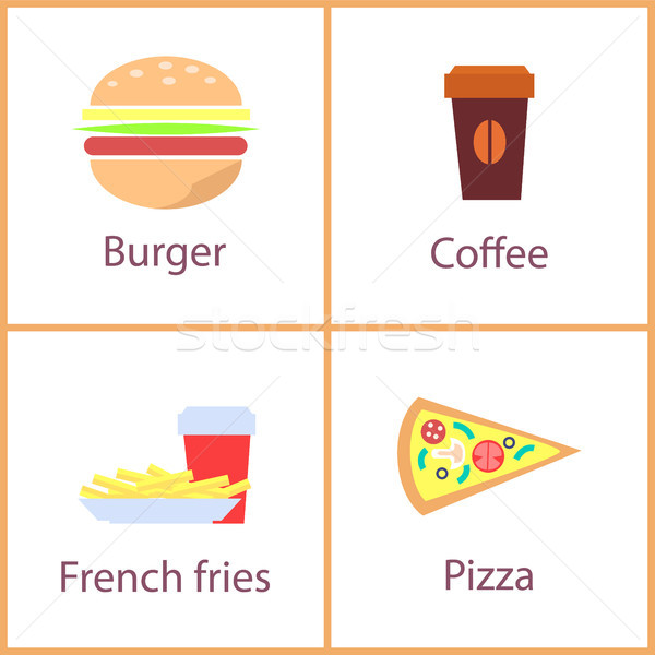Burger and French Fries Set Vector Illustration Stock photo © robuart