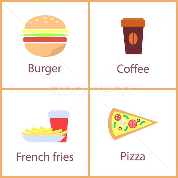 ハンバーガー フライドポテト セット 料理 ポスター ストックフォト © robuart