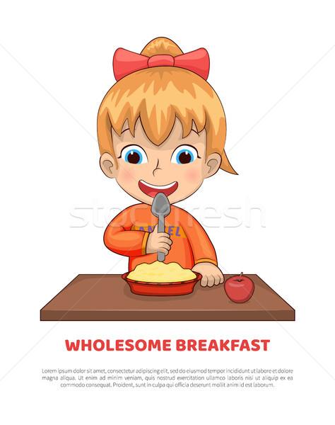 Tápláló reggeli poszter szöveg minta főcím Stock fotó © robuart