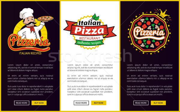 Pizzacı şef plaka üniforma pizza Stok fotoğraf © robuart
