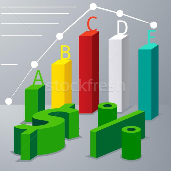 Moderne 3D infographics opties dollarteken kan Stockfoto © robuart