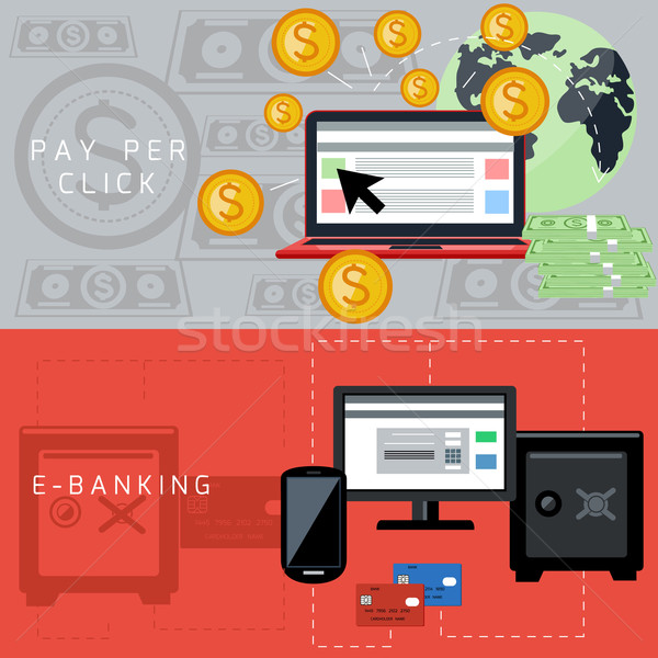 E-banking and pay per click cards Stock photo © robuart