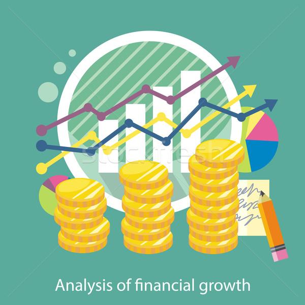 Monedas flechas columnas tabla análisis financieros Foto stock © robuart
