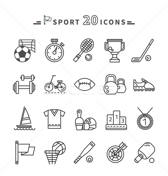 Set of Black Icons Sport Equipment on White Stock photo © robuart
