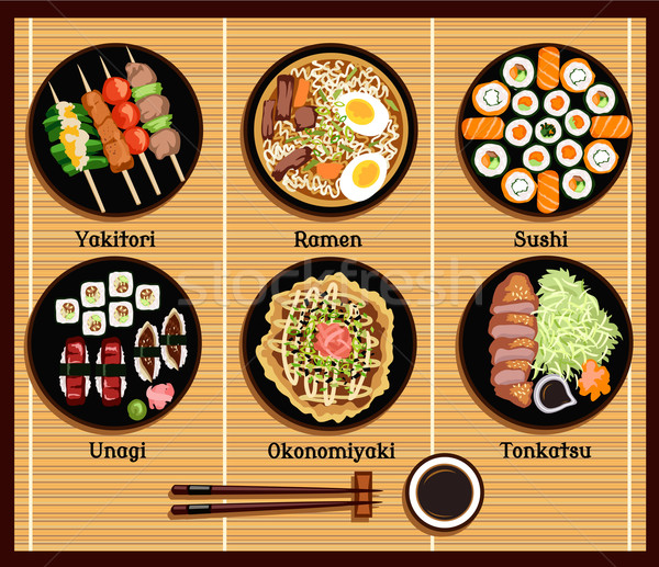 Japanese Cuisine Set Dishes Flat Style Stock photo © robuart