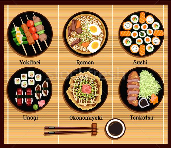 Japanese cucina set piatti stile ramen Foto d'archivio © robuart
