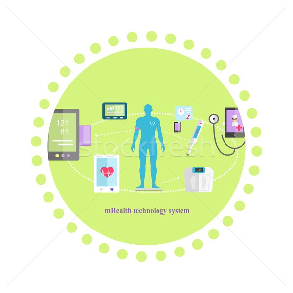 Mhealth Technologies System Icon Flat Isolated Stock photo © robuart