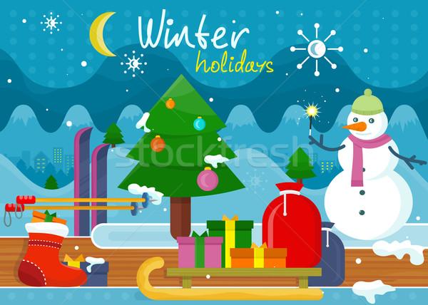 Invierno vacaciones diseno vacaciones Navidad mundo maravilloso Foto stock © robuart