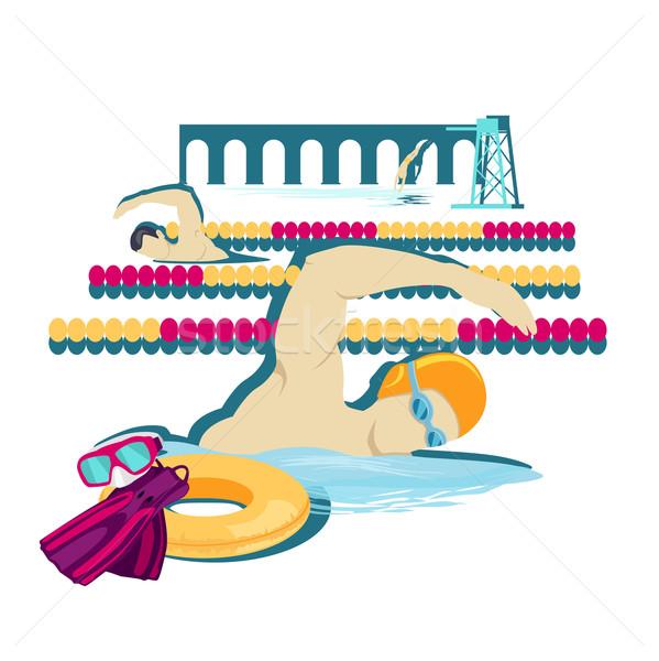 Natação esportes ícone projeto água nadar Foto stock © robuart