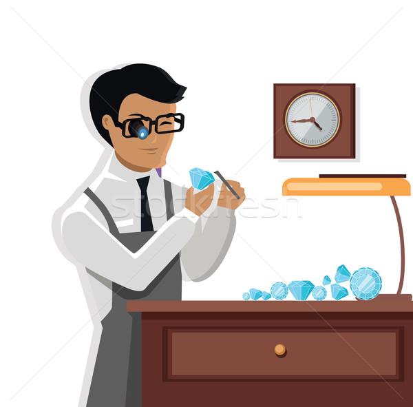 Jeweler Man Examines the Diamond Stock photo © robuart