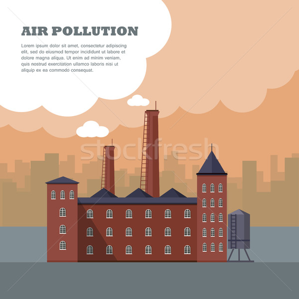 Air Pollution Banner. Factory with Smog Pipes Stock photo © robuart