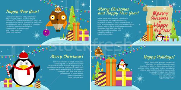 Сток-фото: набор · веб · Баннеры · зима · праздник · празднования
