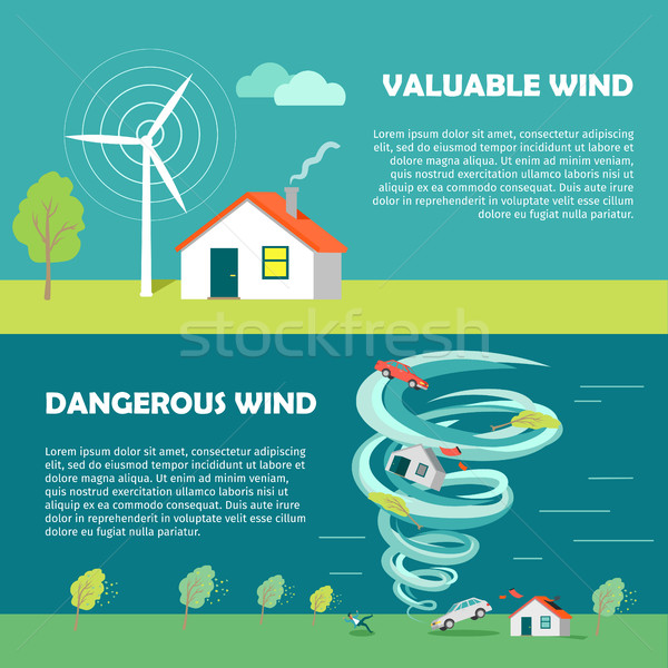 Valuable, Dangerous Wind Banners. Strength Levels Stock photo © robuart